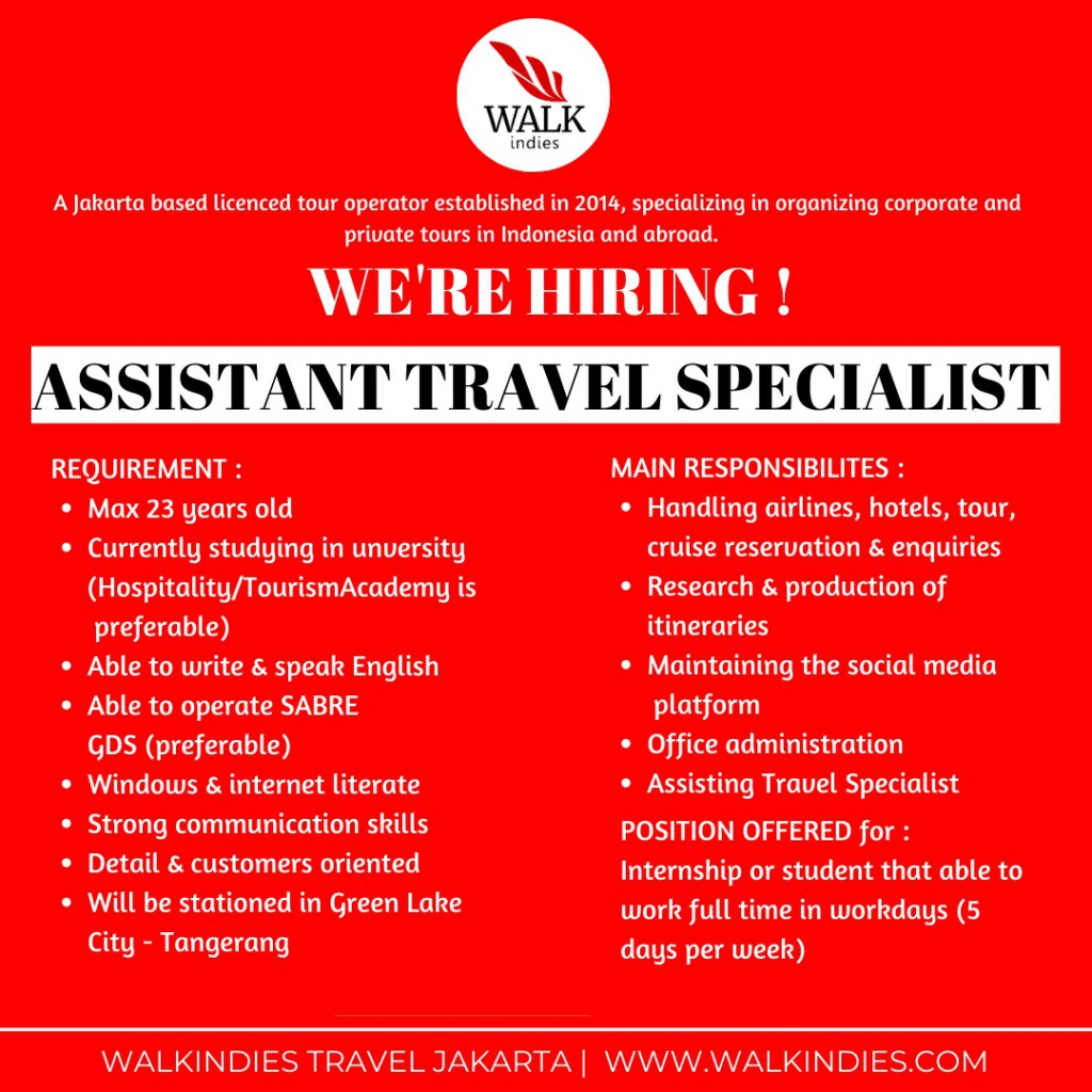 Lowongan_Assistant Travel Specialist Web